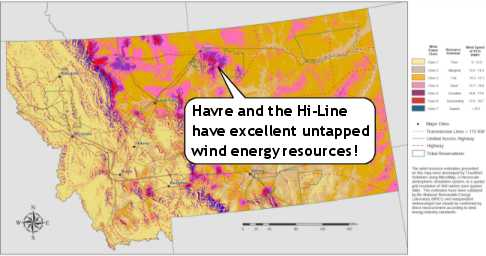 Havre and the Hi-Line have excellent untapped wind energy resources...