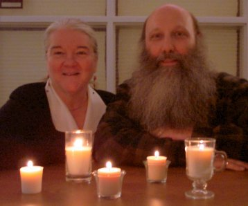 NARFI/Sohodojo Jim and Timlynn beam in the light of Big Sky Chandlers first soy wax candles